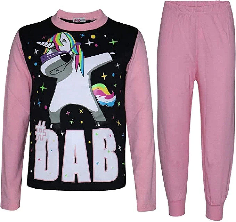 (Baby Pink) Girls Pyjamas Dabbing Unicorn #Dab Floss 5-13 Yrs Free Postage