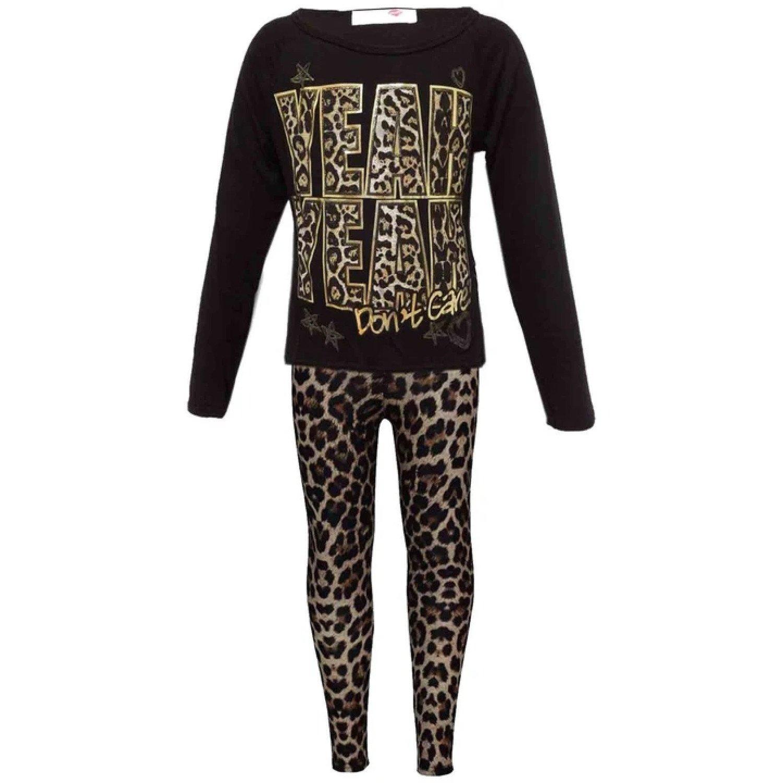 "New Girls ""YEAH YEAH"" Print Party Fashion Top T Shirt & Leopard Legging Set 7-13 Free Postage"
