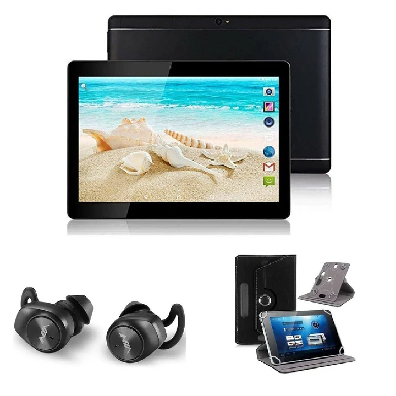 """(Black) 10.1"""" Android 8 Tablet Bundle (Earbuds and Leather Case) Free Postage"""