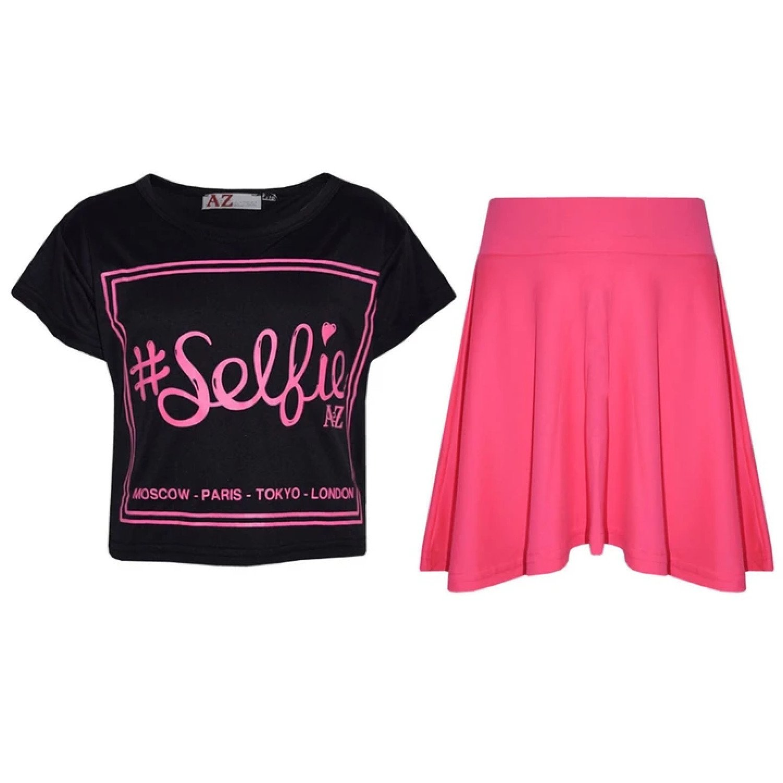 (Black) Girls Selfie Print Stylish Crop Top & Skater Skirt Set Age 7-13 Years Free Postage