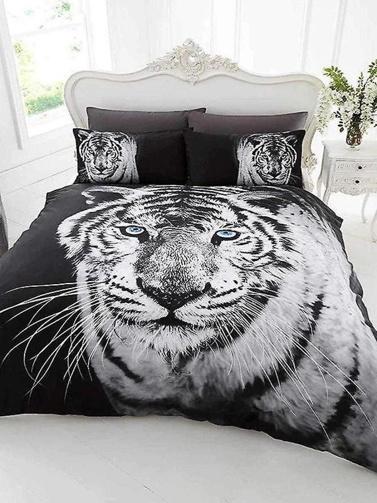 (BlackWhiteTiger Single)) 3D Design Animal Print Duvet Cover & Bedding Set With Pillowcases