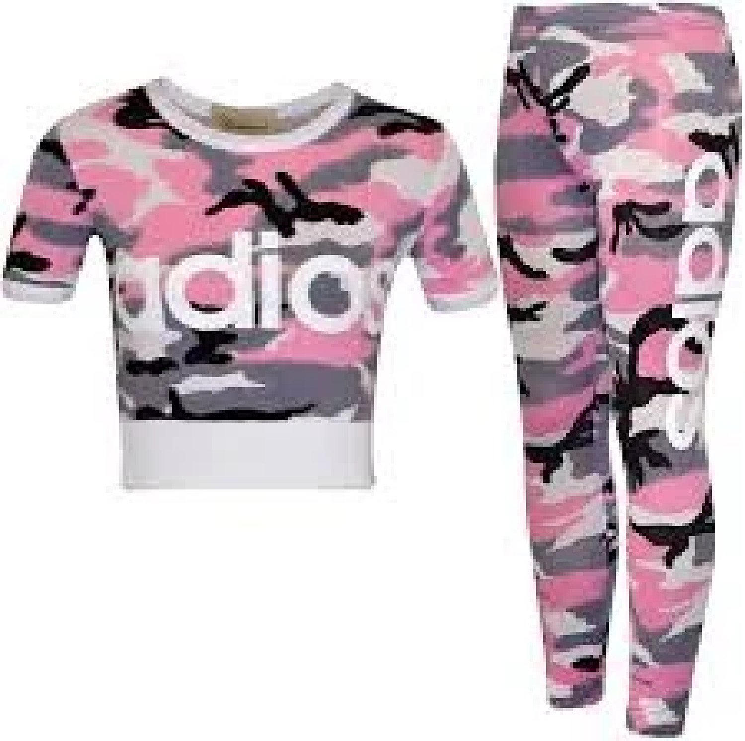 (Camo Baby Pink) Girls Adios Crop Top Leggings Tracksuit 7-13 Yr Free Postage