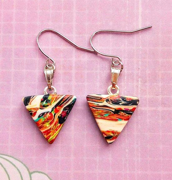 New shop listing, handmade triangle earrings