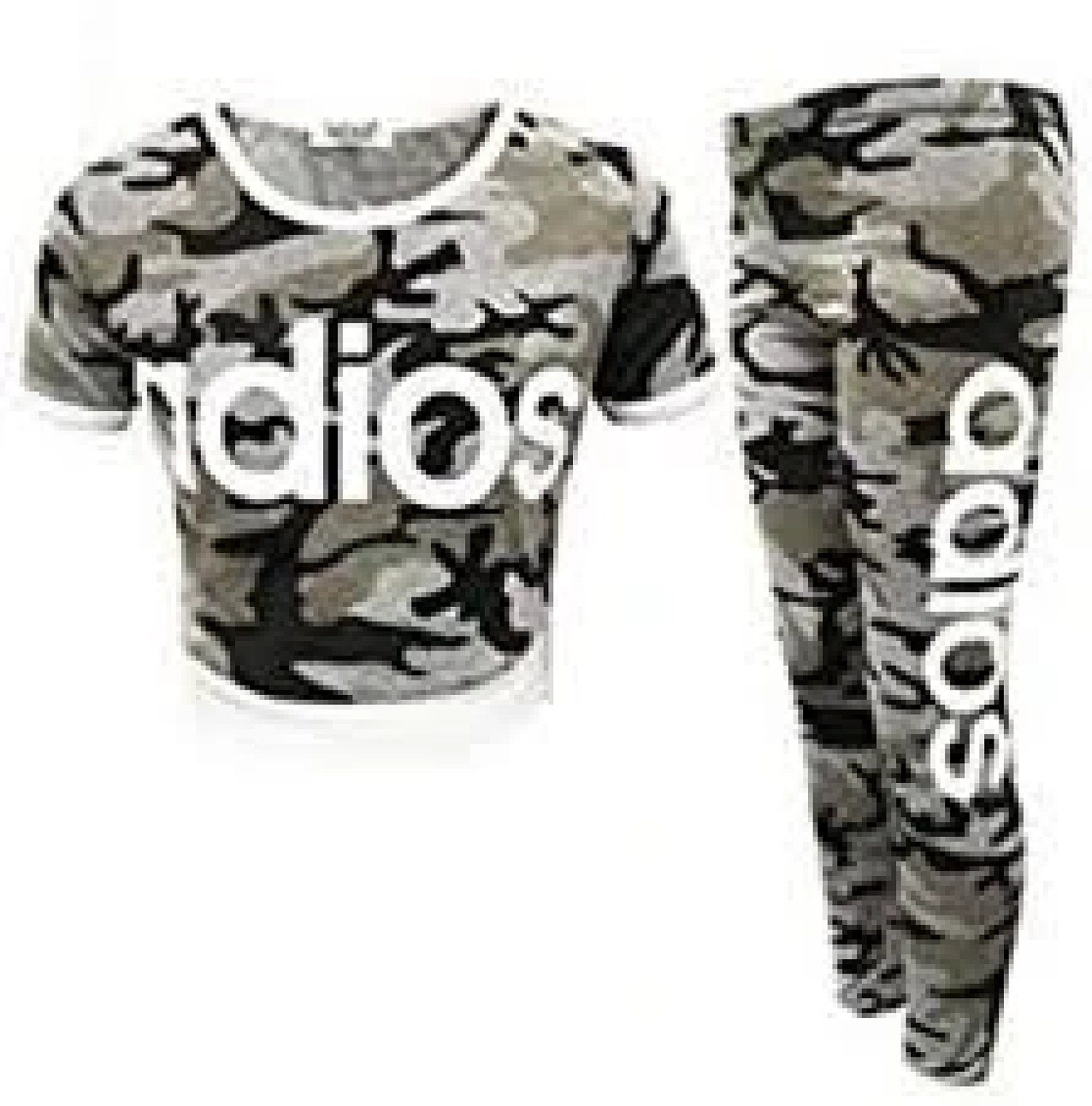 (Camo Charcoal) Girls Adios Crop Top Leggings Set Camouflage Tracksuit 7-13 Yr Free Postage