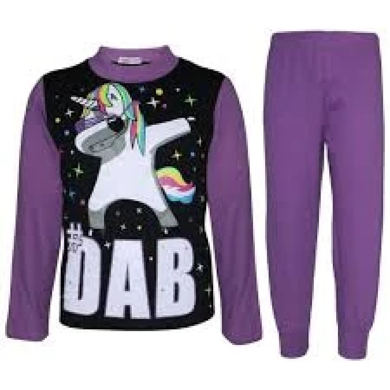 (Lilac) Girls Pyjamas Dabbing Unicorn #Dab Floss 5-13 Yrs Free Postage