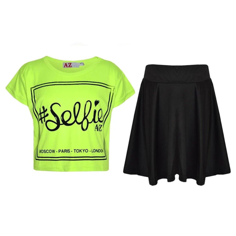 (Neon Green) Girls Selfie Print Stylish Crop Top & Skater Skirt Set Age 5-13 Years Free Postage