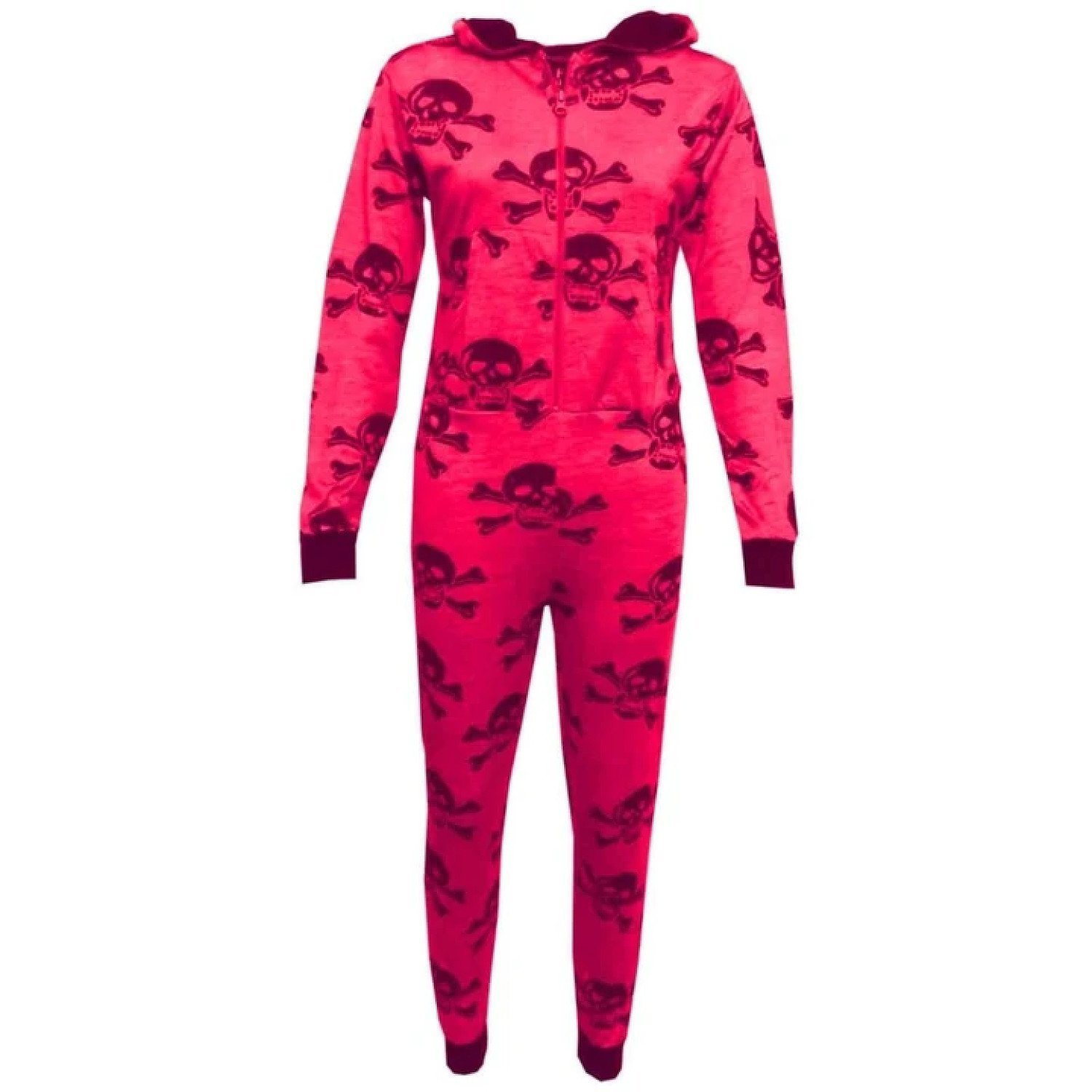 (Neon Pink & Black) Girls/Boys Onesie One Piece Kids Skull & Cross Bone All In One PJ's 5-13 Yrs
