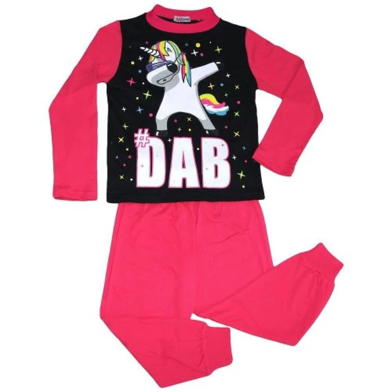 (Pink) Girls Pyjamas Dabbing Unicorn #Dab Floss 5-13 Yrs Free Postage