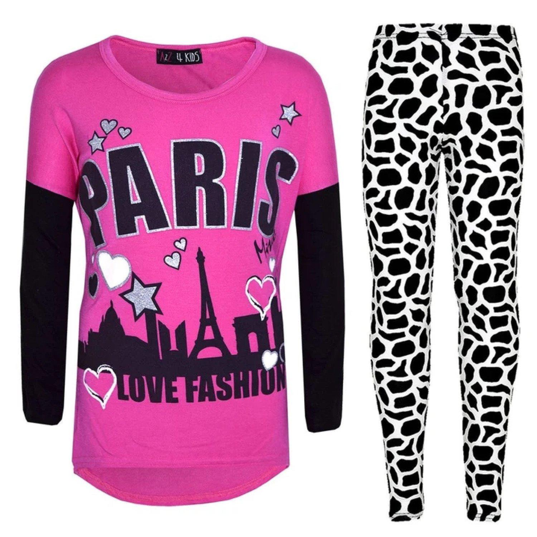 (Pink) Kids Girls PARIS Printed Trendy Top & Fashion Legging Set New Age 7-13 Years Free Postage