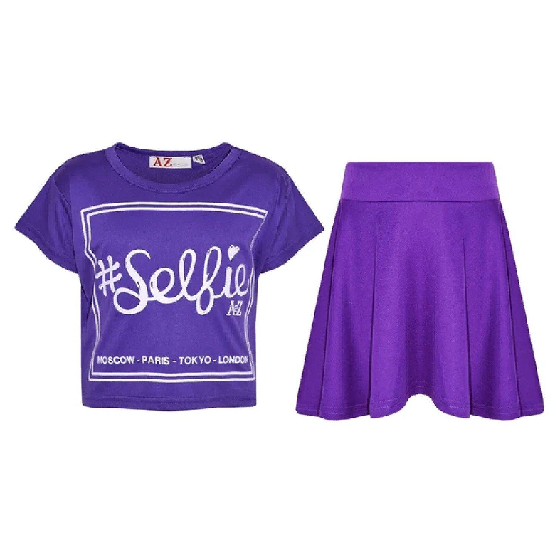 (Purple) Girls Selfie Print Stylish Crop Top & Skater Skirt Set Age 5-13 Years Free Postage