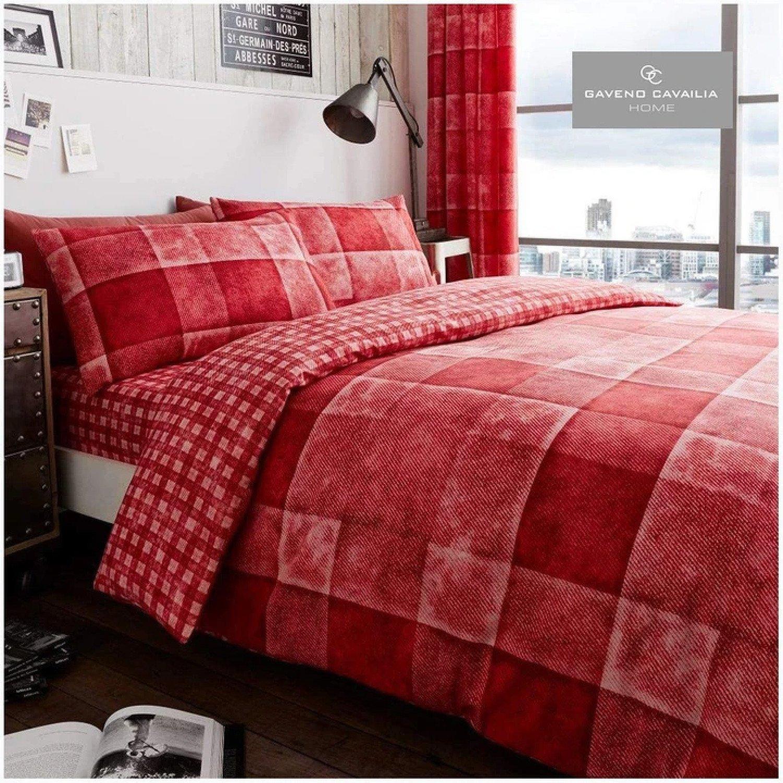 (Red) Denim Check Duvet Cover Bedding Set Free Postage