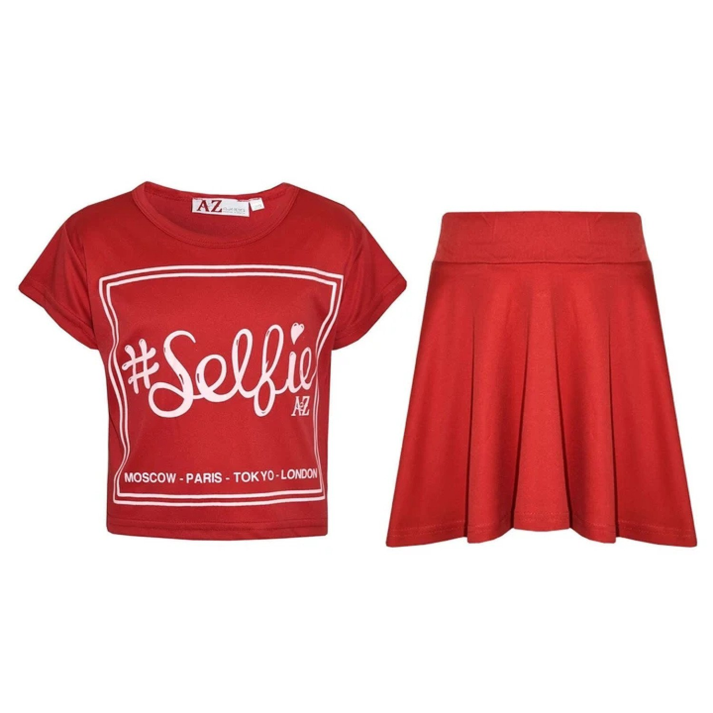 (Red) Girls Selfie Print Stylish Crop Top & Skater Skirt Set Age 5-13 Years Free Postage