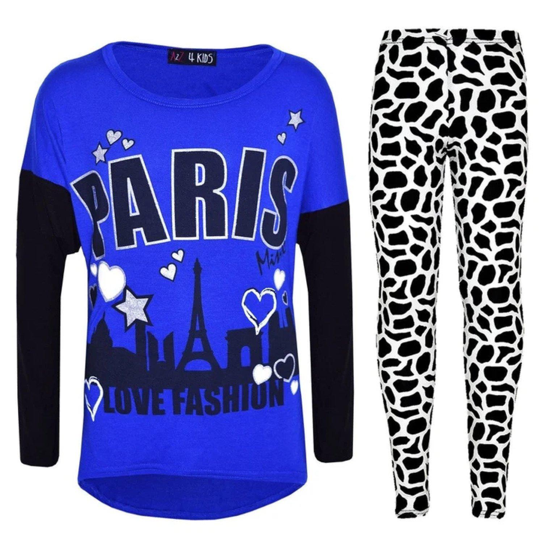 (Royal Blue) Kids Girls PARIS Printed Trendy Top & Fashion Legging Set New Age 7-13 Years Free Posta