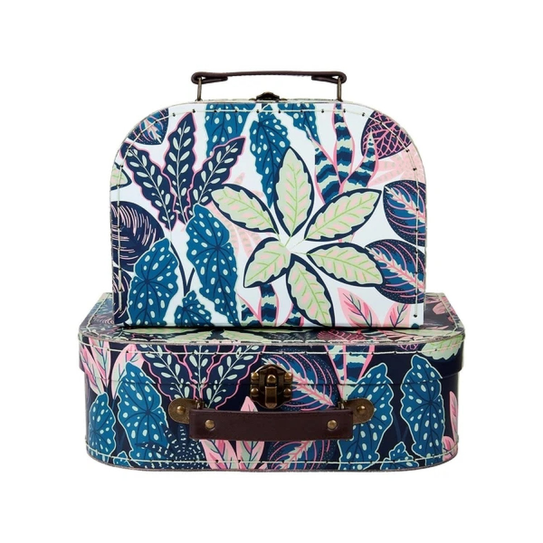(Set of 2) Variegated Leaves Suitcases £19.99 Free Postage