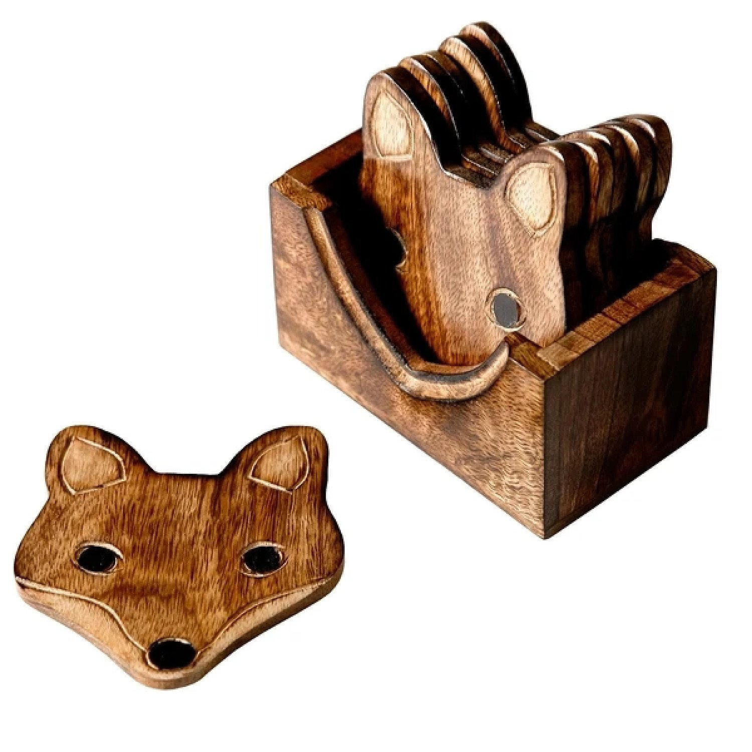 (Set of 6) Wooden Fox Coasters Free Postage