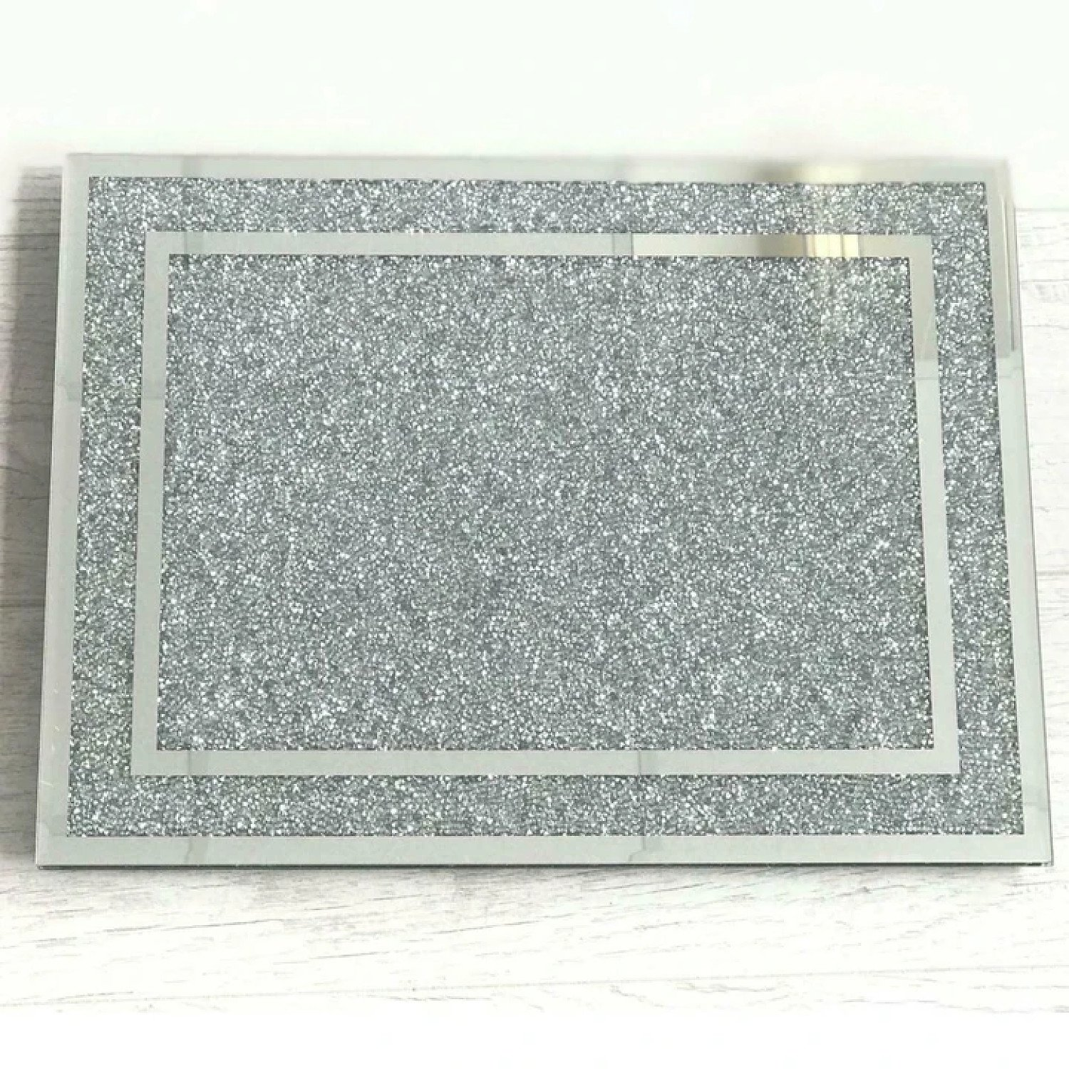(Silver Chopping Board With Border) Crushed Diamond Crystal Filled Free Postage