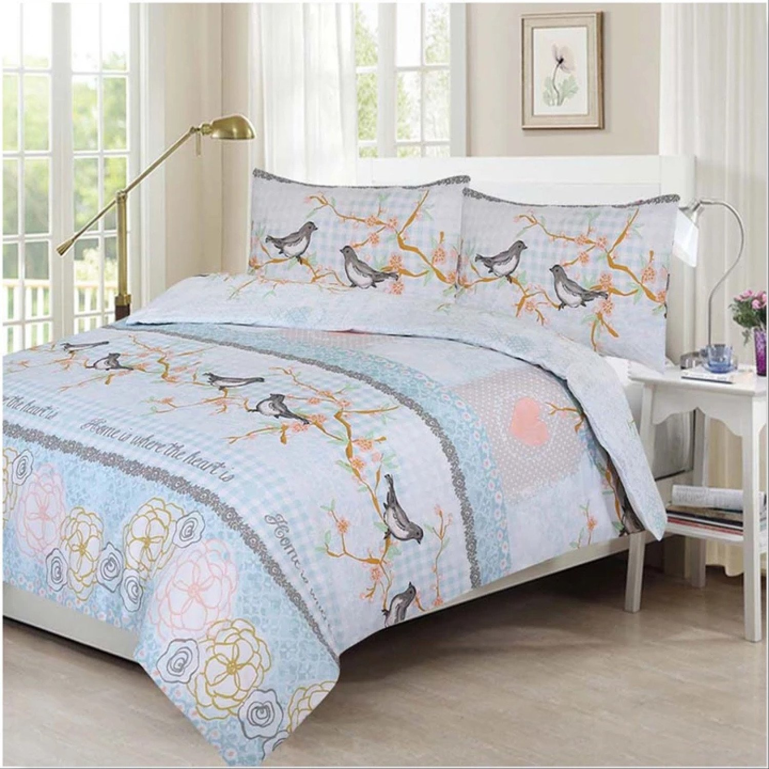 (Sweet Birds)) New 100% Polycotton Reversible Printed Design Duvet Quilt Cover with Pillowcases