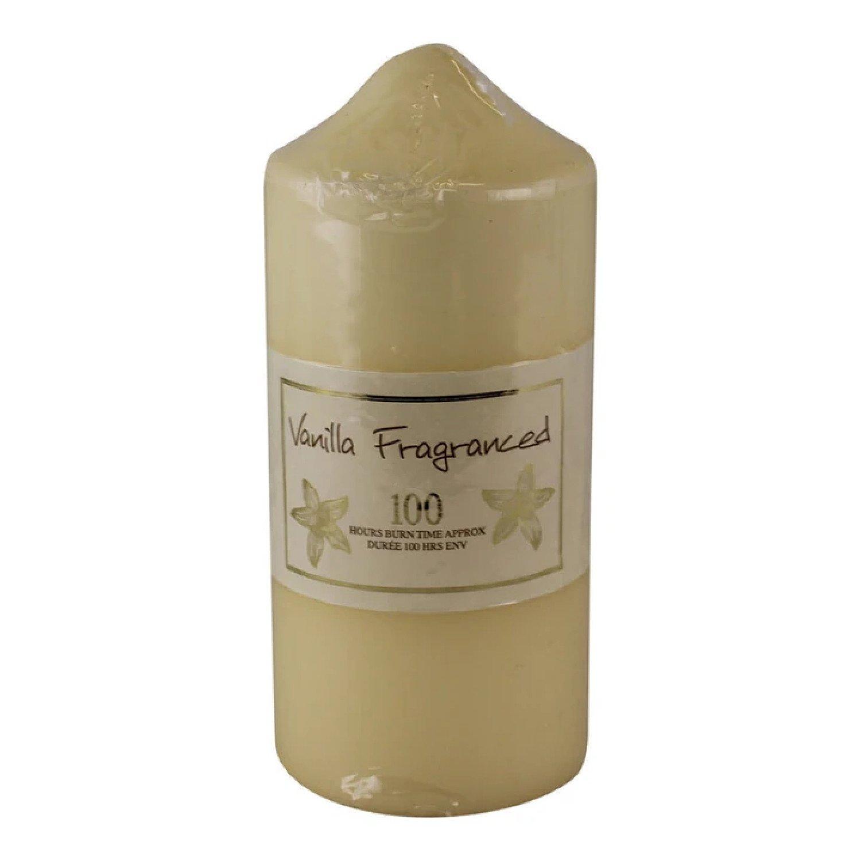 100 Hour Burn Time Pillar Candle, Vanilla Fragrance Free Postage