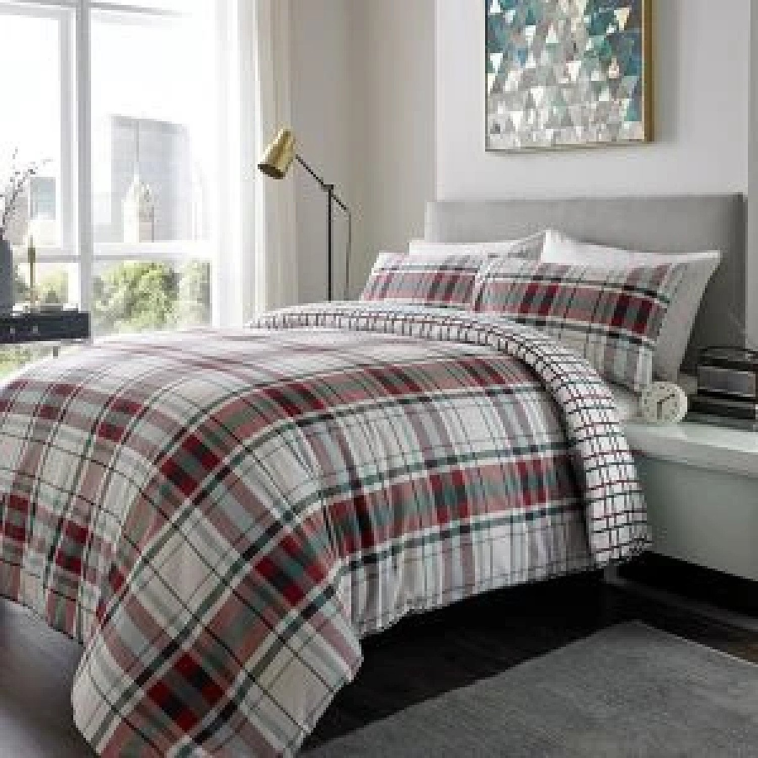 100% Brushed Cotton Duvet Set Check DOUBLE RED GREEN Free Postage