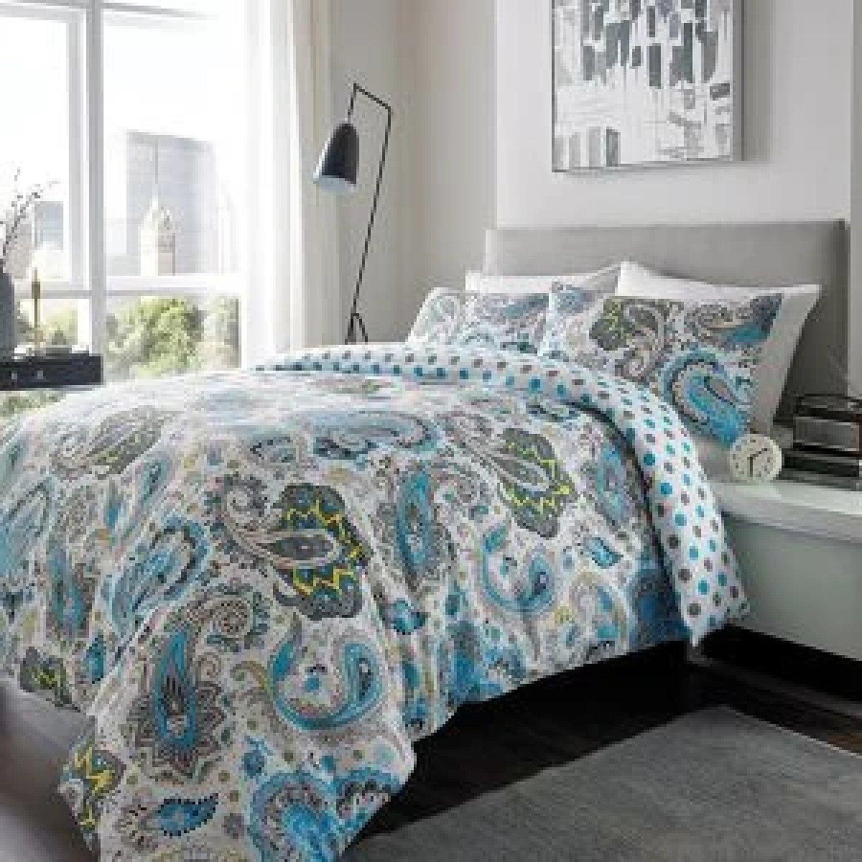 100% Brushed Cotton Duvet Set Paisley DOUBLE BLUE GREY Free Postage