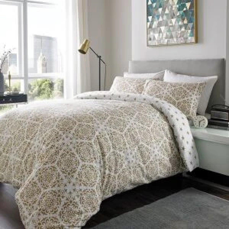 100% Brushed Cotton Duvet Set STARS DOUBLE MOCHA Free Postage