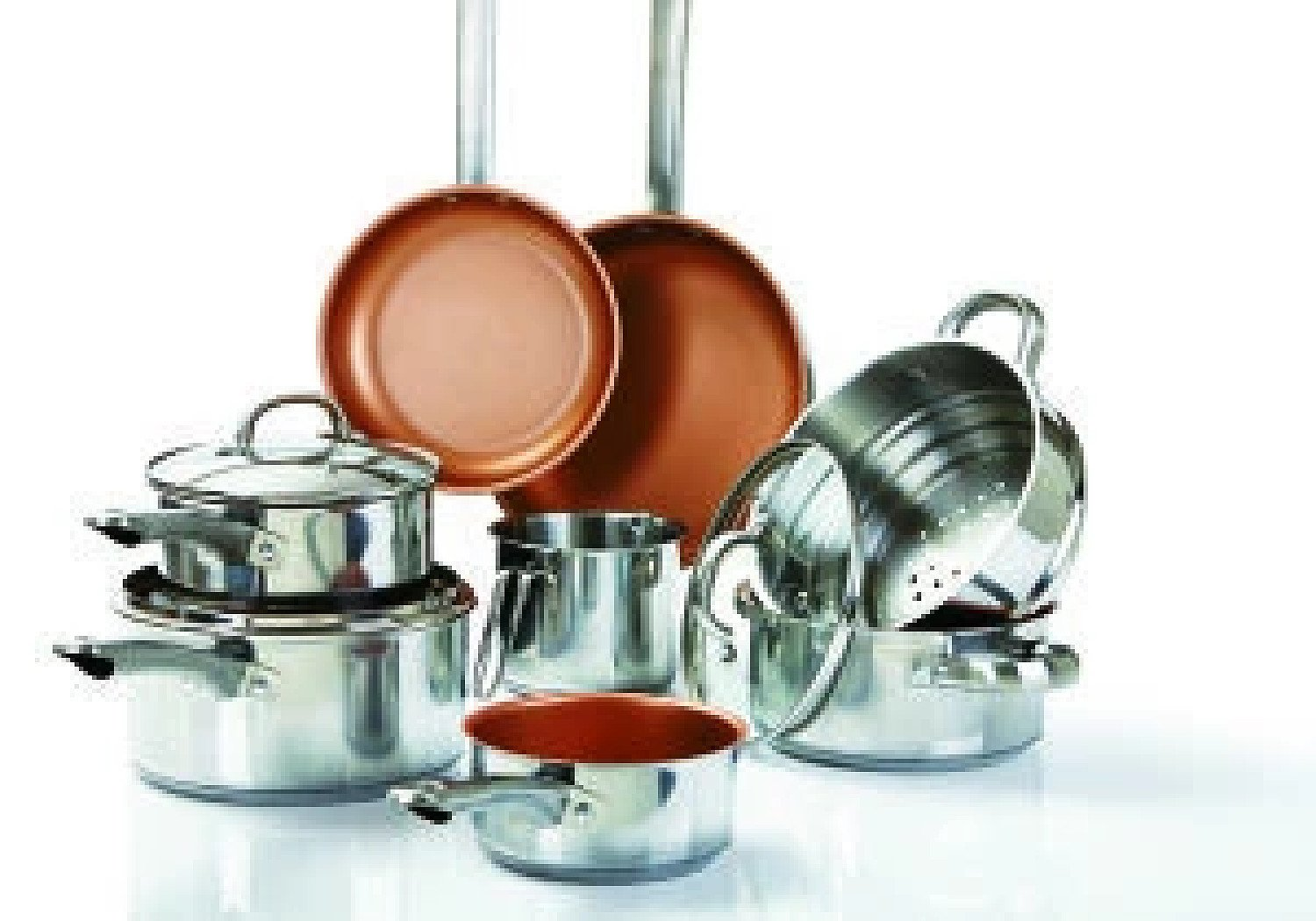 11 pieces Cookware Set Stainless Steel Copper Non-Stick Healthy Cooking Free Postage