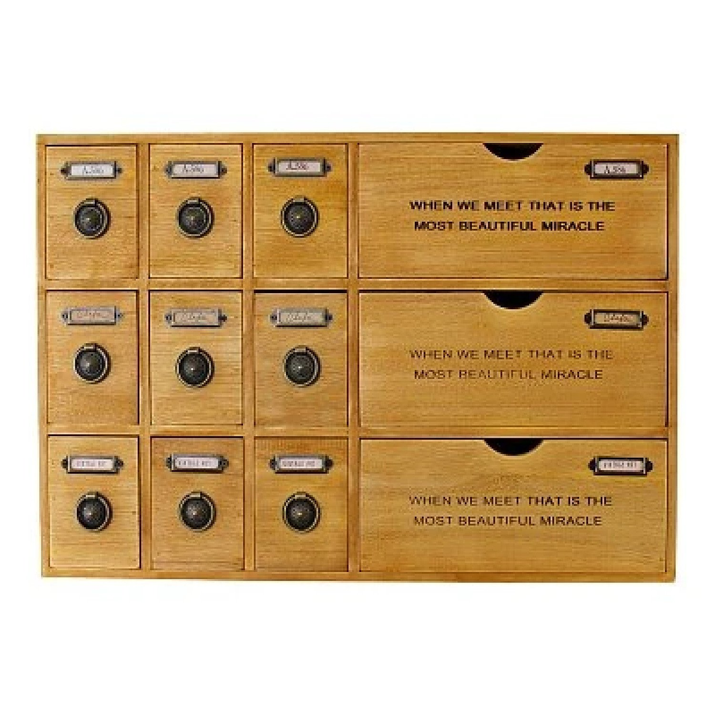 12 Drawer Rustic Storage Unit, Trinket Drawers Free Postage