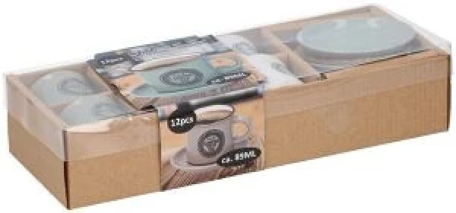 12 Piece Ceramic Espresso Mini Coffee Mug Cup & Saucer Gift Boxed Set 89 ml Free Postage
