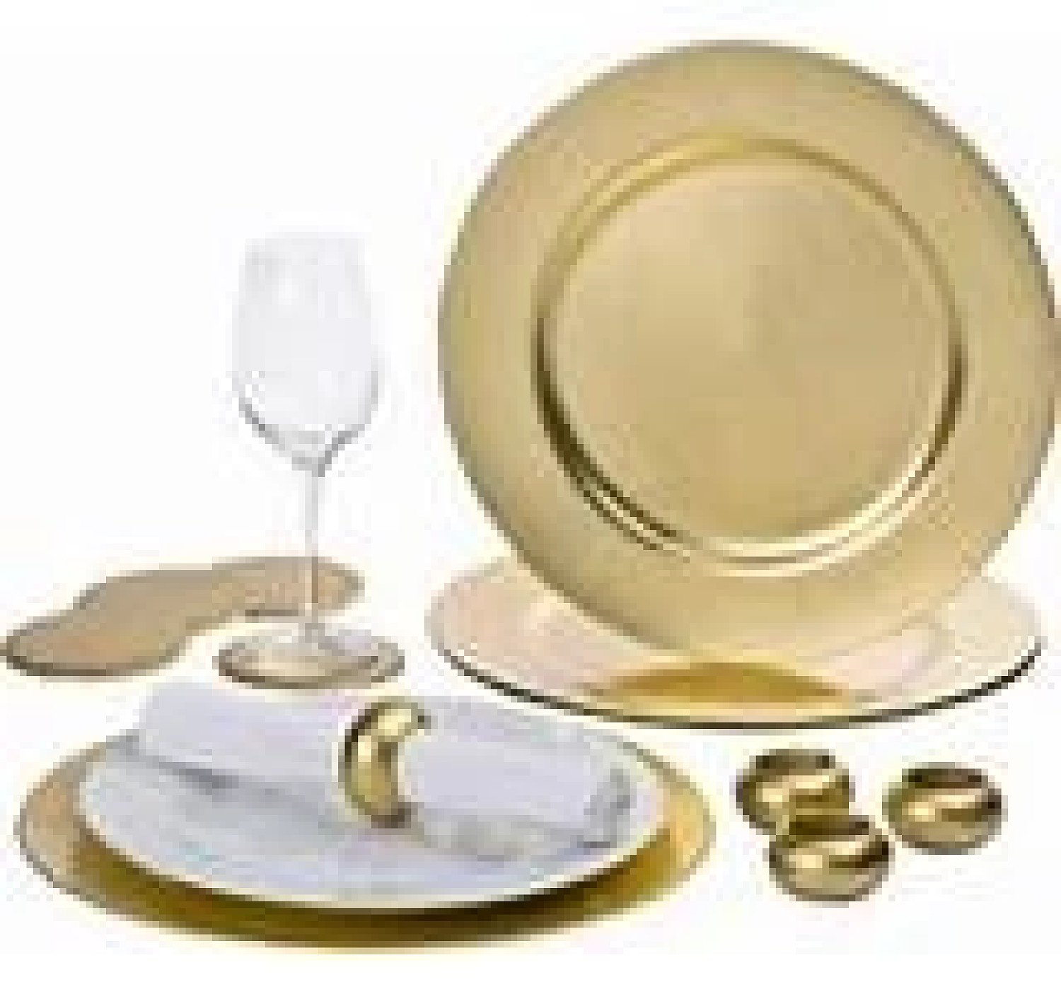 12 PIECE GOLD CHARGER PLATE SET Free Postage