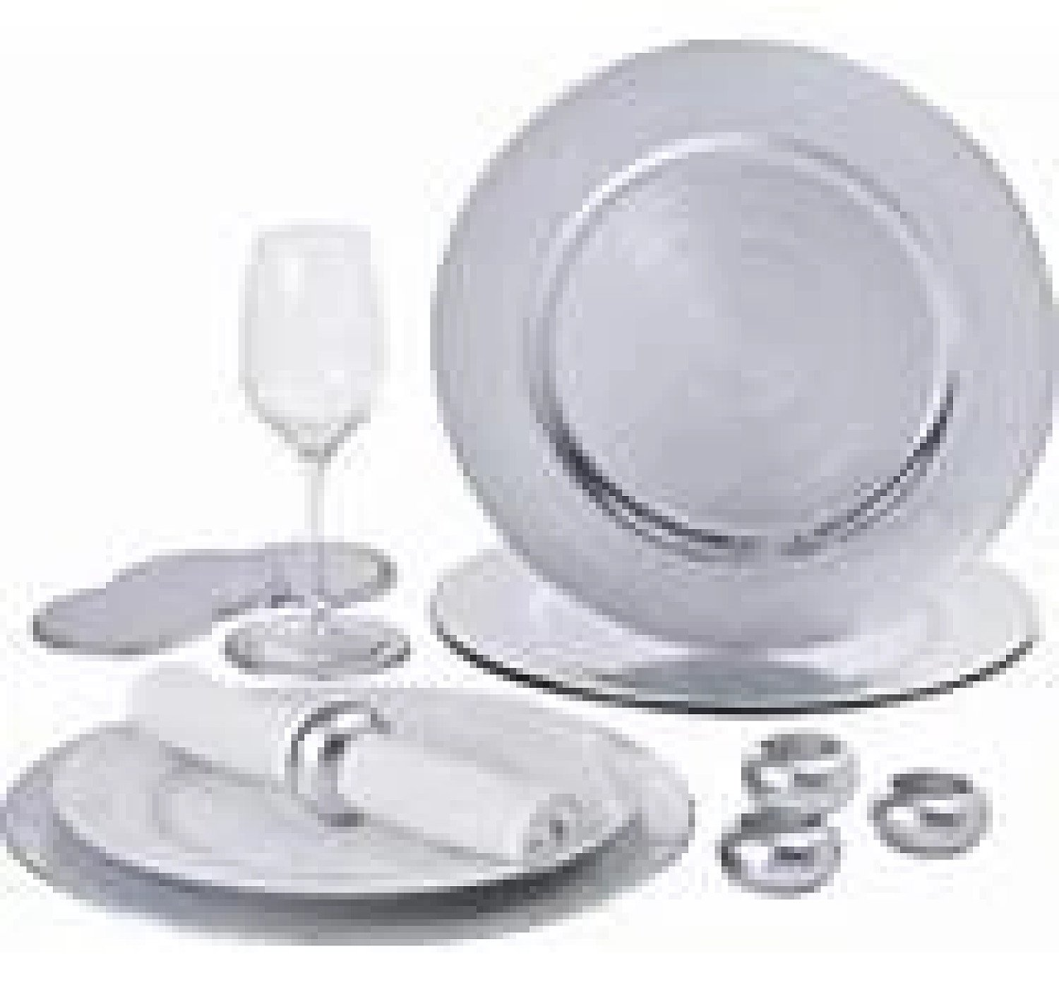 12 PIECE PLATINUM CHARGER PLATE SET Free Postage