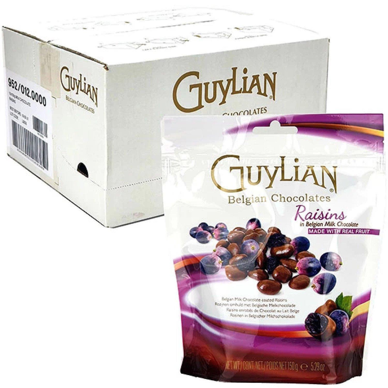 12 X GUYLIAN BELGIAN MILK CHOCOLATE COATED RAISINS 150G PACKS Free Postage