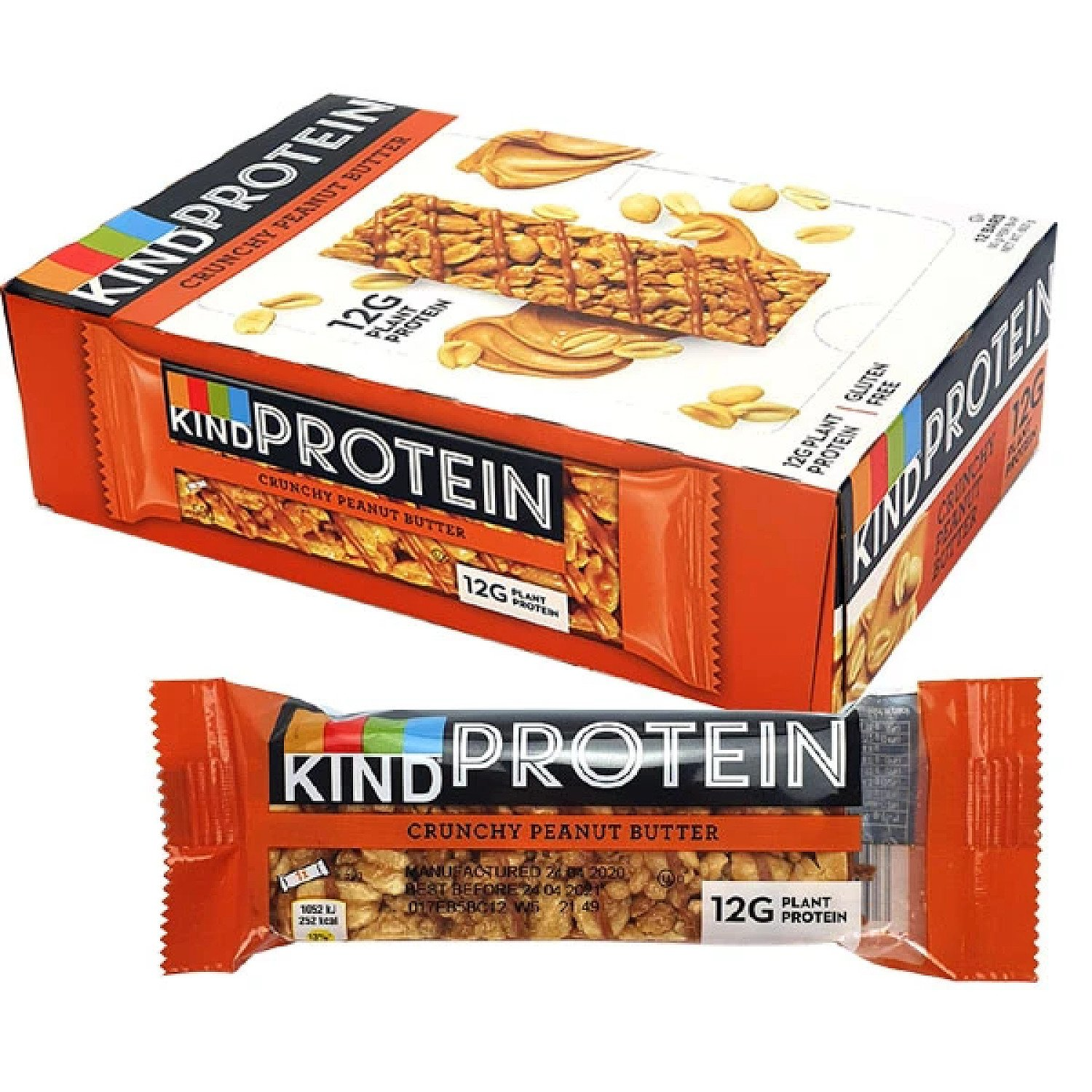 12 X KIND CRUNCHY PEANUT BUTTER 50G PROTEIN BARS Free Postage
