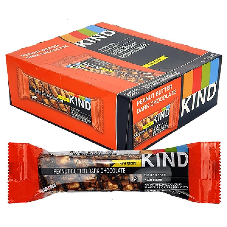 12 X KIND PEANUT BUTTER DARK CHOCOLATE 40G BARS Free Postage