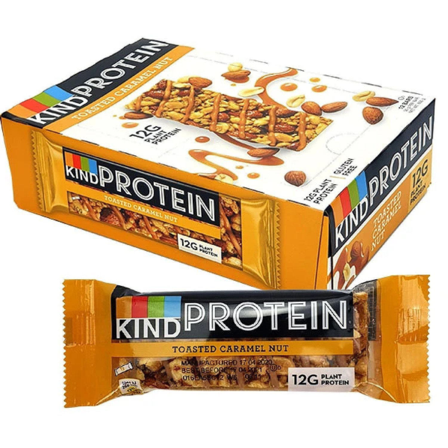 12 X KIND TOASTED CARAMEL NUT 50G PROTEIN BARS Free Postage