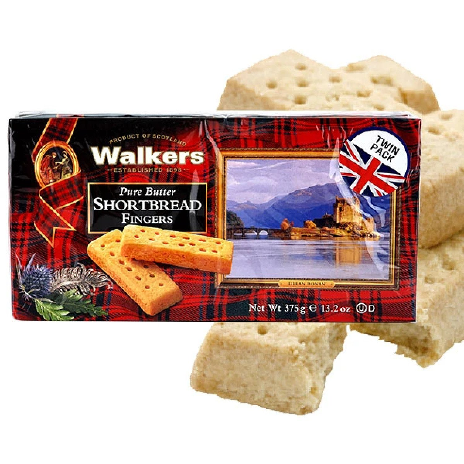 12 X WALKERS PURE BUTTER SHORTBREAD 375G BOXES Free Postage