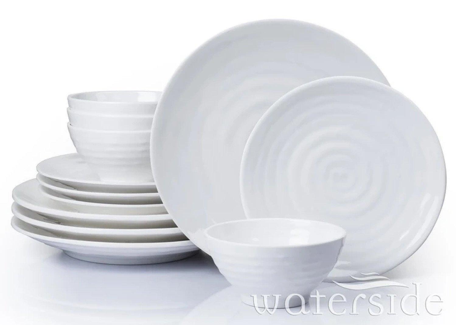 12PC EMBOSSED MELAMINE DINNER SET Free Postage