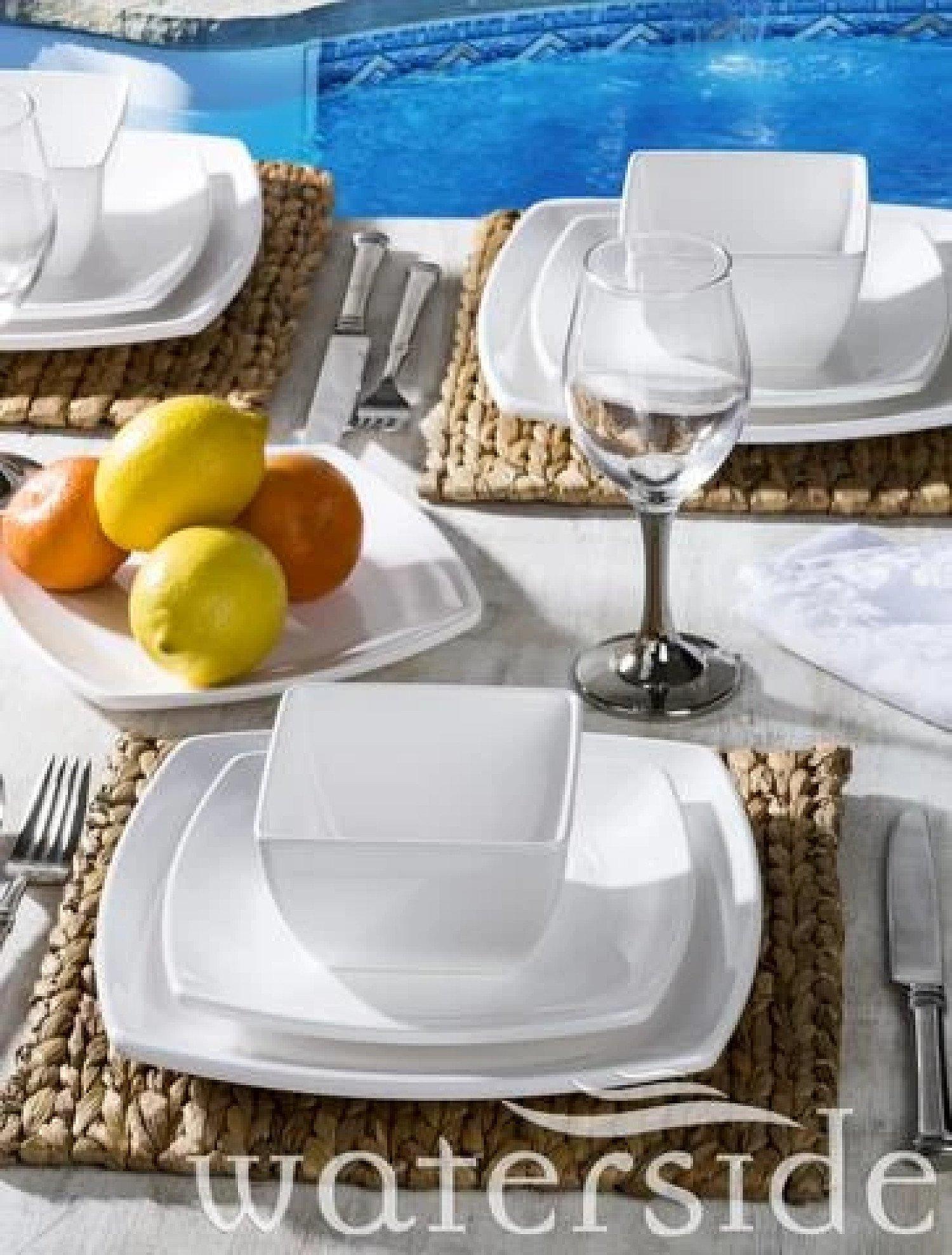 12PC SQUARE MELAMINE DINNER SET Free Postage