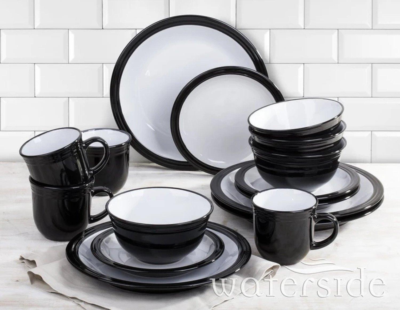 16 PIECE BLACK CAMDEN DINNER SET Free Postage