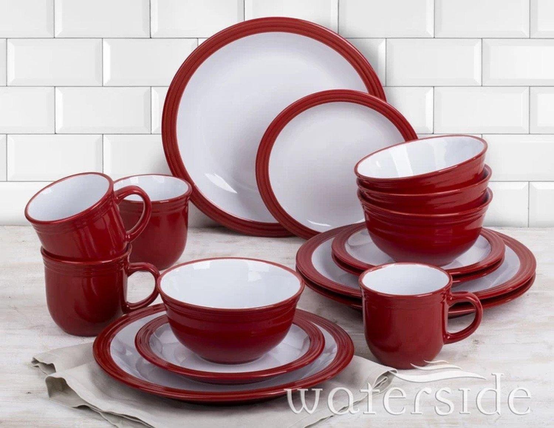 16 PIECE RED CAMDEN DINNER SET Free Postage