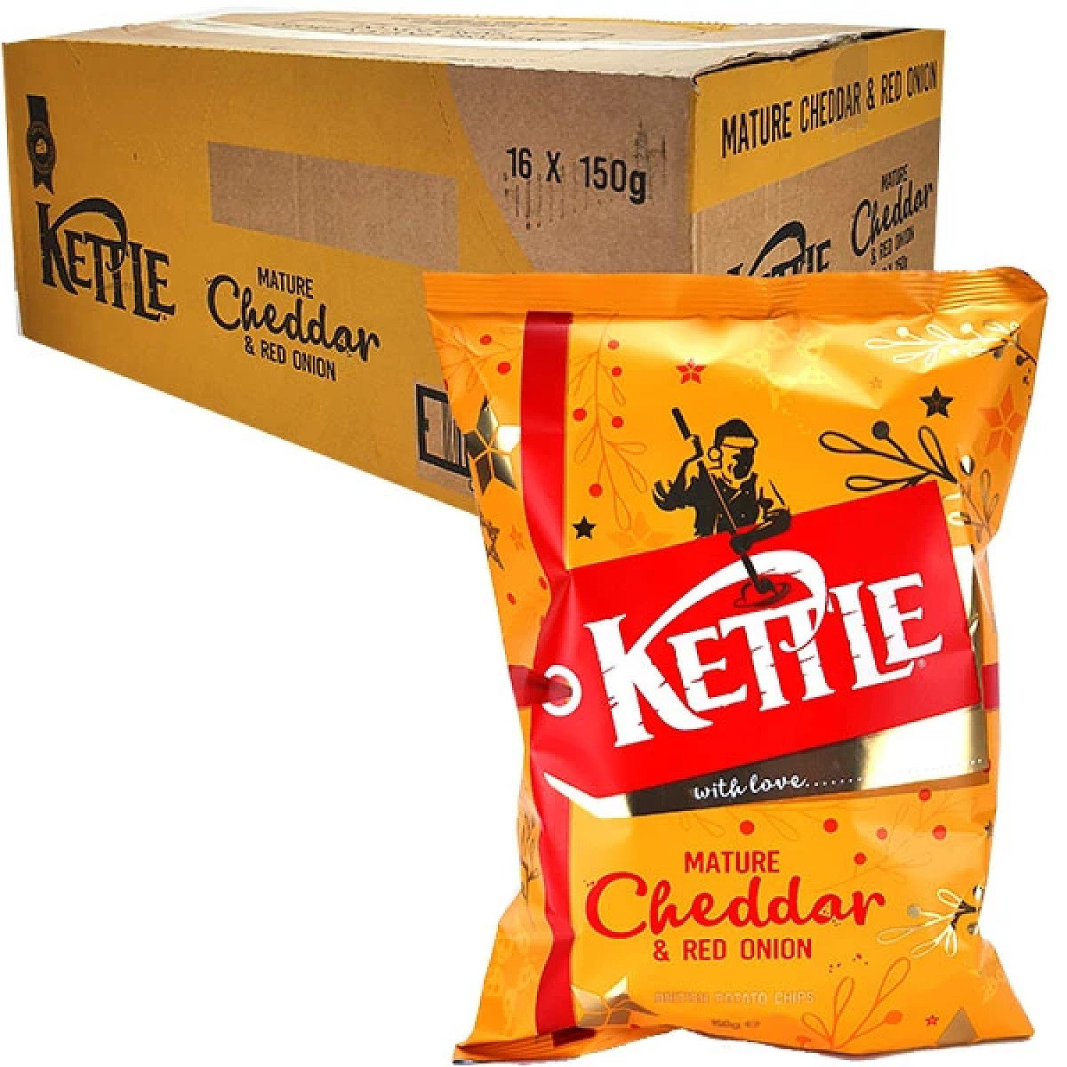 16 X KETTLE CHIPS MATURE CHEDDAR & RED ONION 150G PACKS Free Postage