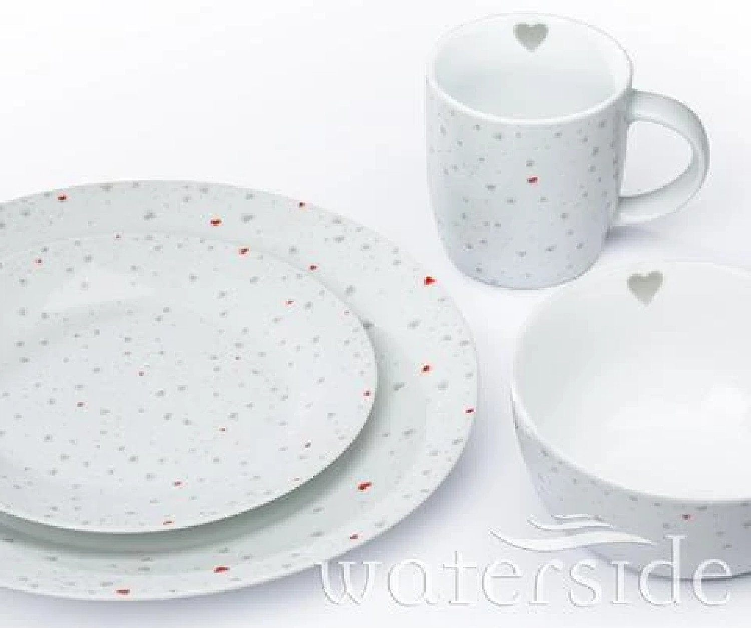 16PC GREY & RED HEART DINNER SET Free Postage