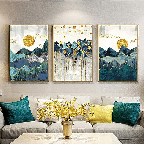 Nordic Style Geometric Wall Painting On Canvas