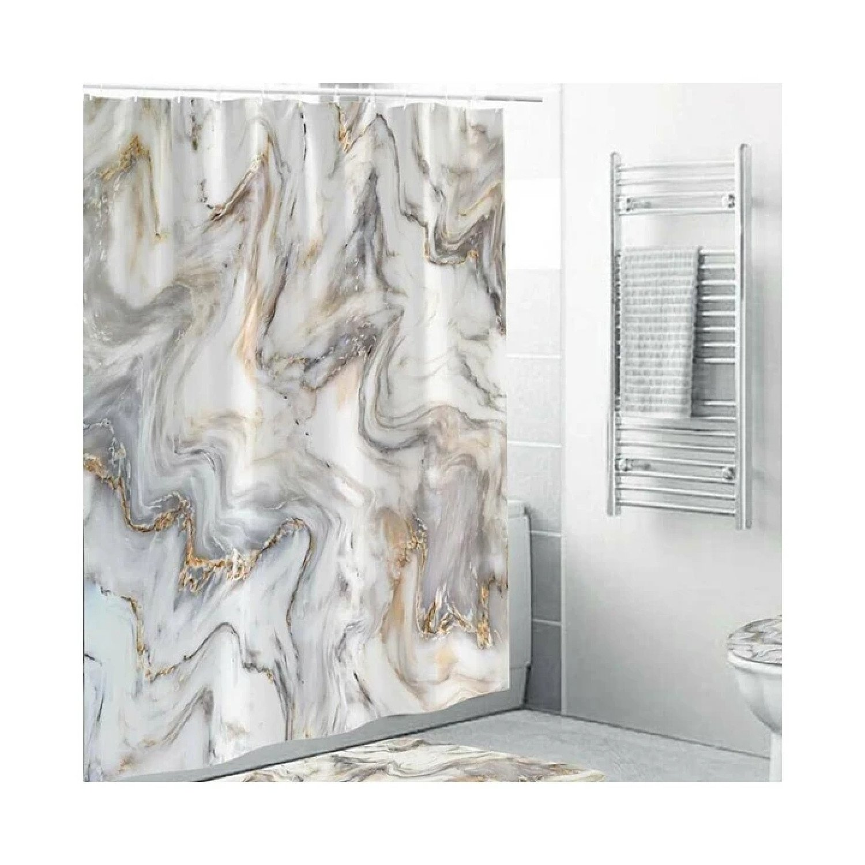 180*180cm 3D Marble Printed Bath Shower Curtains Waterproof Polyester Bathroom Free Postage
