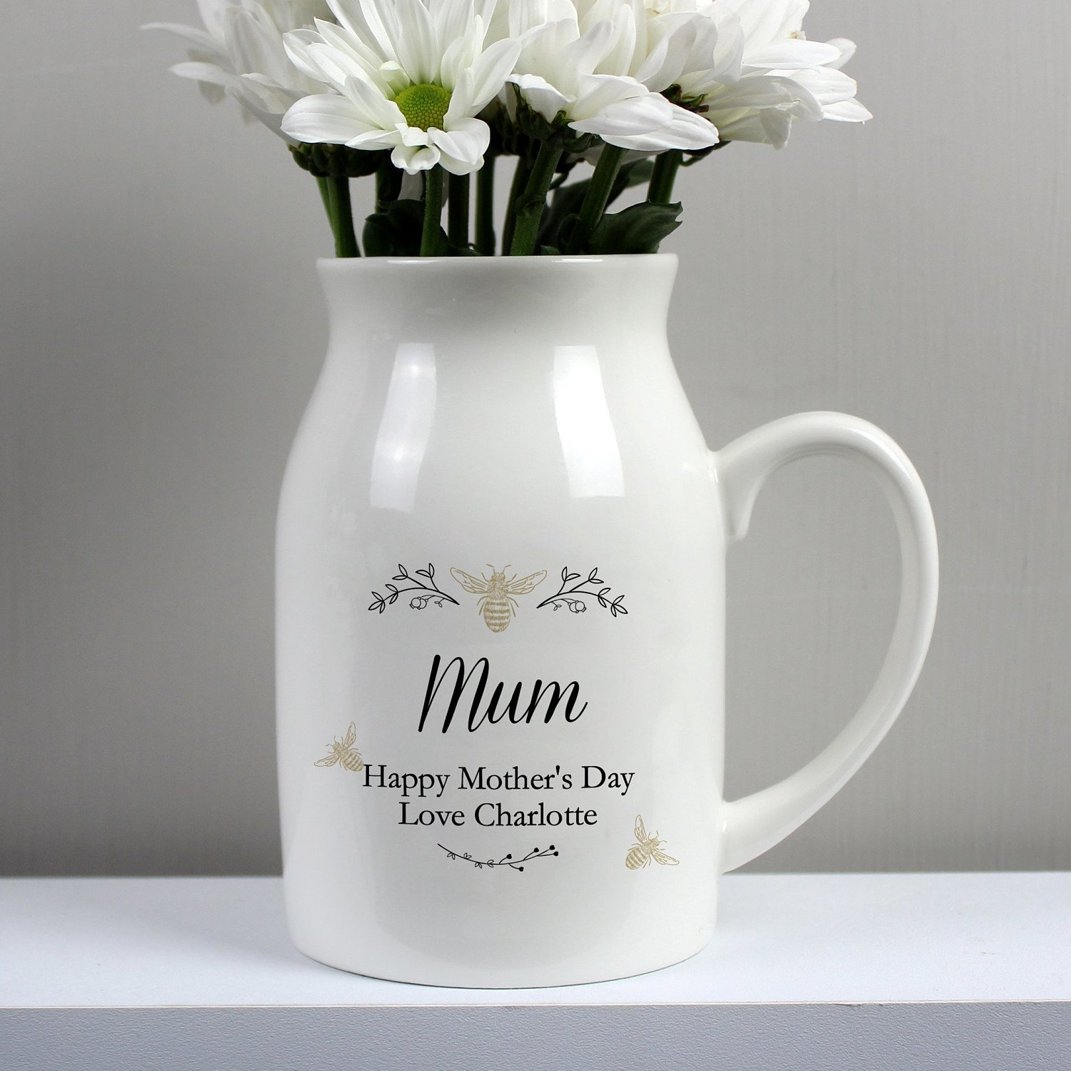 Personalised Floral Bee Flower Jug 💐 Mother's Day Free Postage