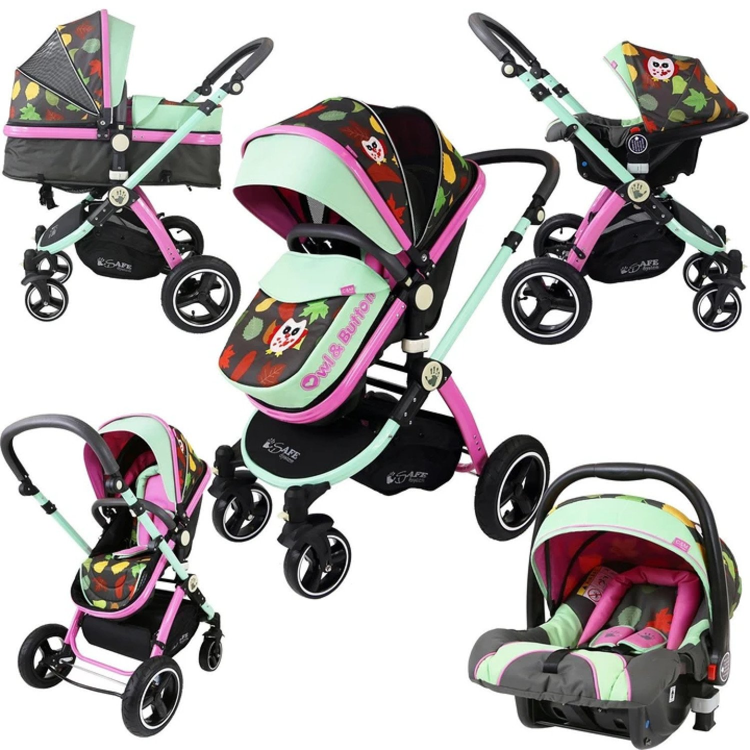 2 in 1 iSafe Pram System - Button Owl (Limited Edition) + Carseat Free Postage
