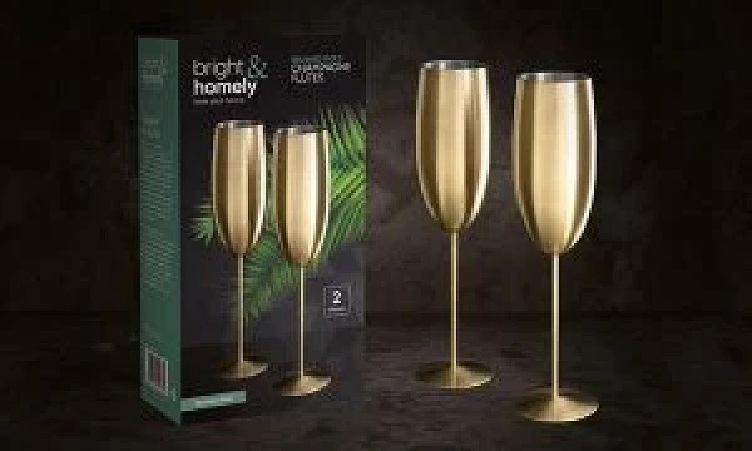 2 Brushed Gold Champagne Wine Flutes Glasses Stainless Steel Shatterproof Free Postage