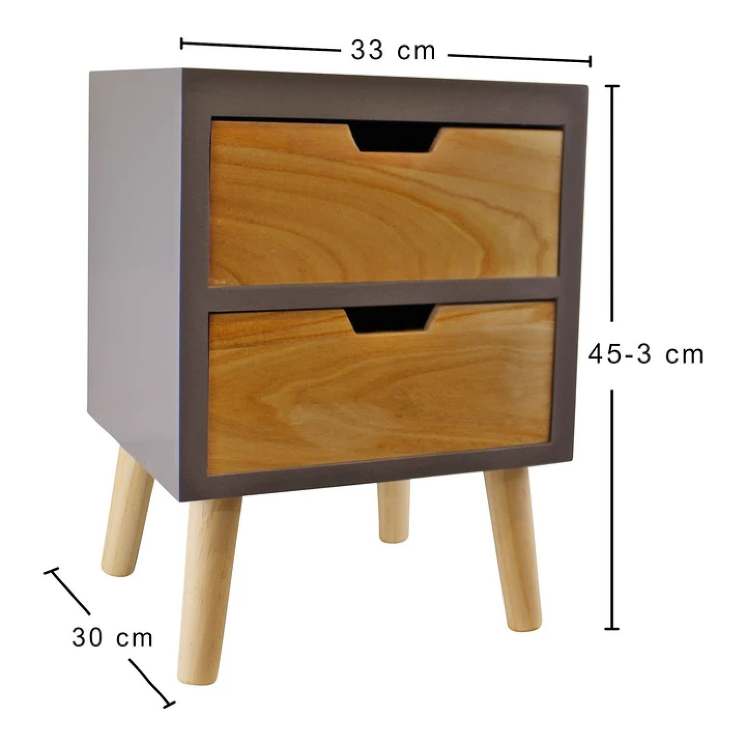 2 Drawer Chest In Grey Finish With Natural Drawers With Removable Legs Free Postage
