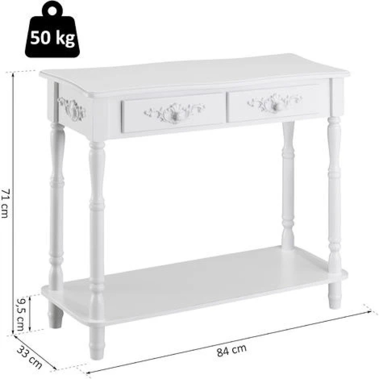 2 Drawer Hallway Desk Wooden Storage Shelf Living Room Furniture White Free Postage