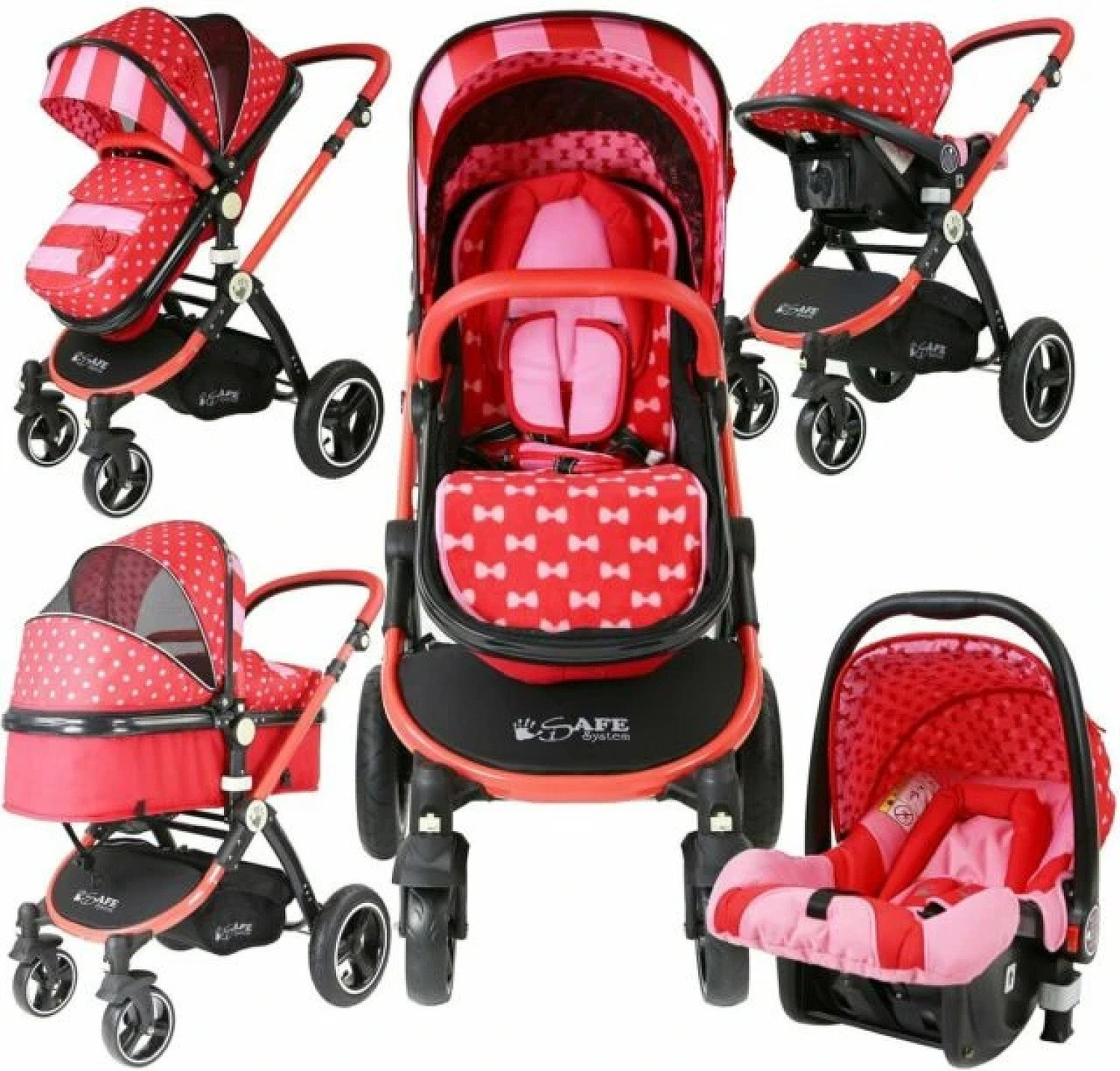 2 in 1 iSafe Pram System - Bow Dots (Limited Edition) + Carseat Free Postage
