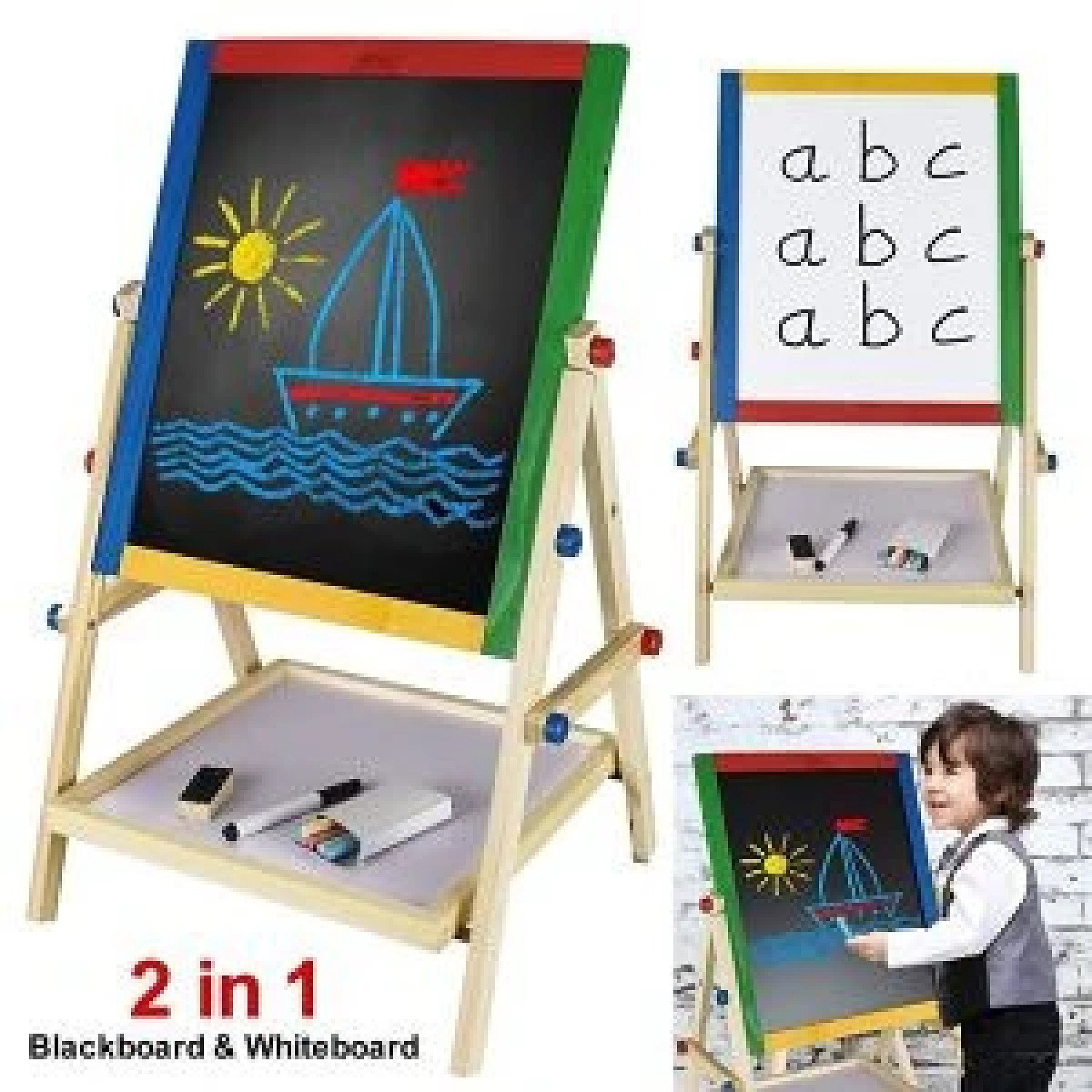 2 in 1 Kids Easel Board 33x38x65cm Free Postage